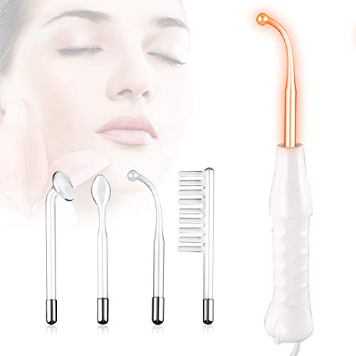 High Frequency Facial Machine, BeautyHuoLian Portable High Frequency Machine Skin Therapy Wand Handle Skin Tightening Acne Spot Wrinkles Reducing Puffy Eyes Dark Circles Dispel Freckle 4 in 1