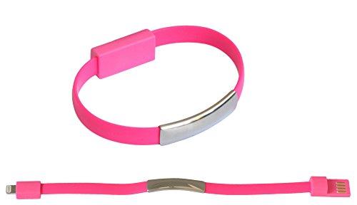 OKCS Braccialetto/Cavo di Carica/Cavo Dati/per iPhone 7, 7 Plus, SE, 6, 6 Plus, 5, 5S, 5C / iPad 4, Mini, 2, 3, 5 Air, Air 2 / iPod Touch & Nano - in Pink/Rosa