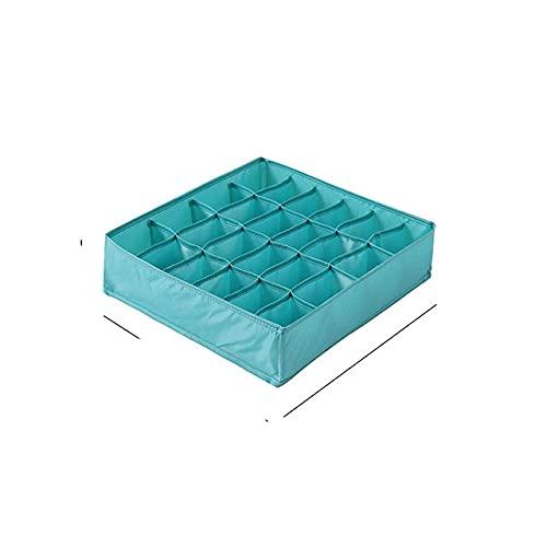 Organizadores de cajones de ropa interior plegables Divisores de almacenamiento Organizador de armario Caja de almacenamiento 24 rejillas para ropa Sujetadores Bufandas Corbatas Calcetines-azul