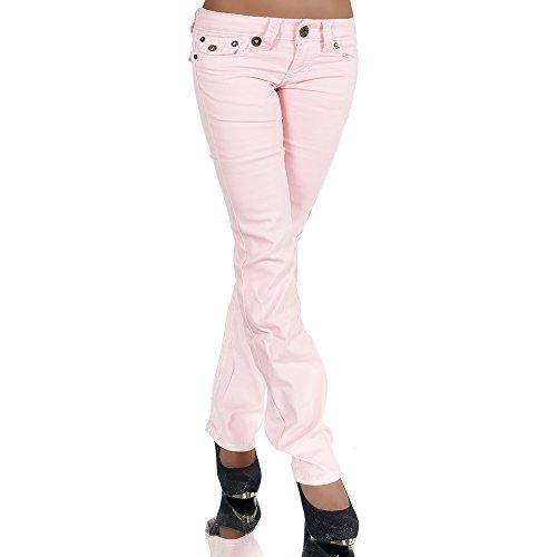 Damen Bootcut Jeans Hose Damenjeans Hüftjeans Gerades Bein Dicke Naht Nähte H922, Größen:42 (XL), Farben:Rosa
