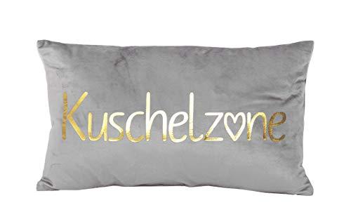 PremiumShop321 Dekokissen Kuschelkissen Kuschelzone grau/Gold Samt-Optik 30x50 cm Kissen incl. Füllung