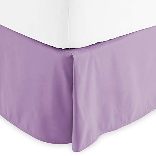 Bare Home Pleated Bed Skirt - 15-Inch Tailored Drop Easy Fit - Center & Corner Pleats (Queen, Lavender)