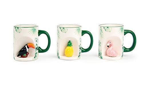 Excelsa Tropical Lot de 6 Tasses Mug, Céramique, Blanc avec décorations