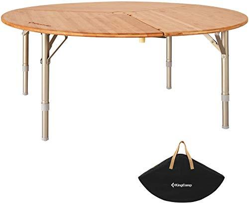 KingCamp - Mesa de camping plegable de bambú con bolsa de transporte y marco de aluminio ajustable para camping, picnic al aire libre o muebles de interior