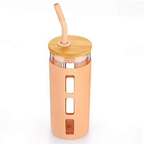 tronco 20oz Glass Tumbler Glass Water Bottle Straw Silicone Sleeve Bamboo Lid- BPA Free (Light Ambe)