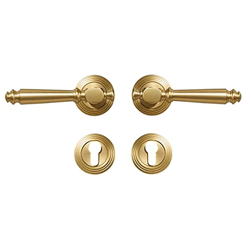 HXiaoF Brass Door Lock Set Light Luxury Grey Interiror Bedroom Bathroom Double Wood Door Lever Set Dummy Handle Knob (Size : Fake Lock QBCF)