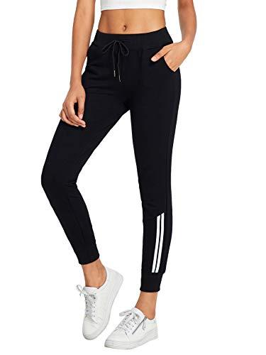 DIDK Damen Hosen Sporthose Casual Streifen Sweathose Elastischer Bund Jogginghose mit Taschen Schwarz#8 L