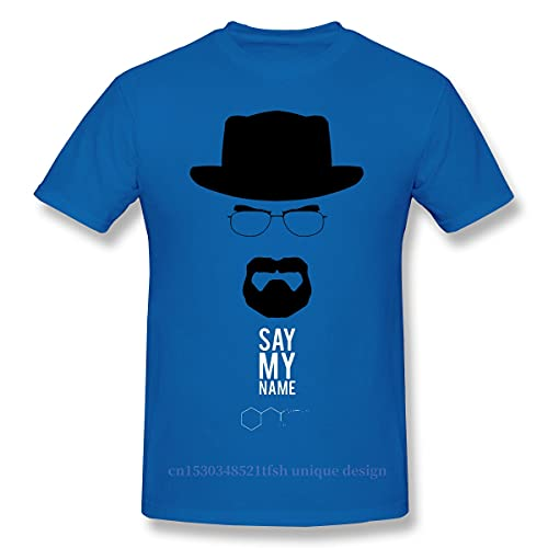 Say Me Name Shirt Men 100% Cotton Short Summer Sleeve Tshirt Breaking Bad America Sadism TV Series Casual Loose T-Shirt Blue L