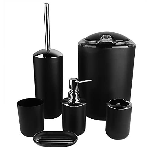 AYNEFY Juego de accesorios de baño de 6 piezas con dispensador de jabón, jabonera, soporte para cepillos de dientes, vaso para cepillo de dientes, escobilla de inodoro, cubo de basura (negro)
