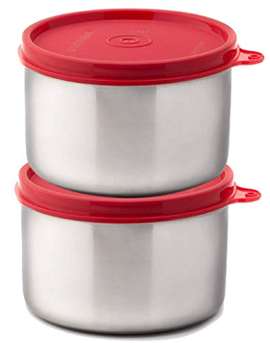 Signoraware Executive Steel Container Big, Set of 2, 500ml+500ml, Red