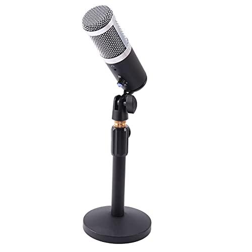 Fauge MicróFono de Condensador USB de Sobremesa, para PC Computadora Juegos de Computadora PortáTil Karaoke Estudio de GrabacióN, Plata