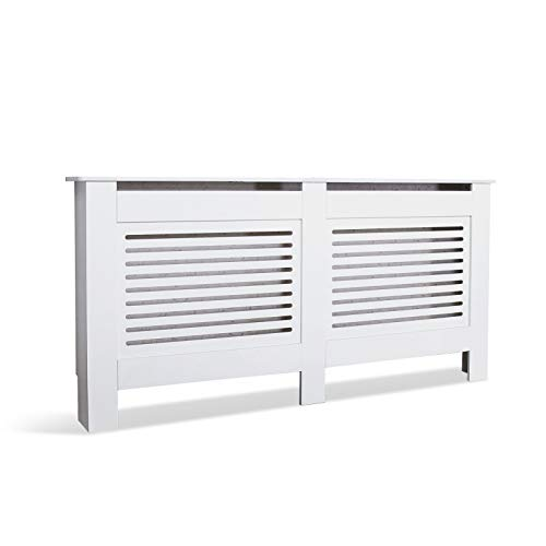 Mondeer Heizkörperverkleidung, Heizungsverkleidung MDF Unlackiert Modern für Schlafzimmer Wohnzimmer Parallel Weiß (XL)