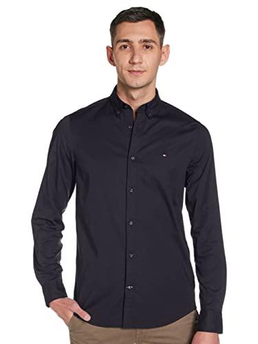Tommy Hilfiger Herren CORE Stretch Slim POPLIN Shirt Freizeithemd, Schwarz (Flag Black 083), XX-Large