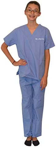 Custom Ceil Blue Kids Scrubs with Embroidered Name Size 7 product image
