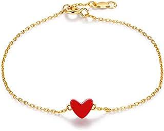 WOkismx De Mujeres Galvanizado pequeño corazón Rojo S925 Pulsera de Plata, Oro de 18 Quilates en Forma de corazón Pulsera Amor