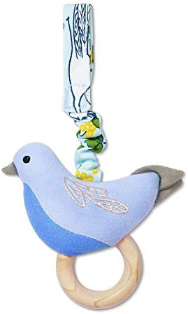 Apple Park Enchated Leaves Blue Birdie Stroller Baby Toy - for Newborns, Infants, Toddlers - Hypoallergenic, 100% Organic Cotton
