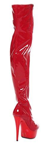 Crotch Plateau Overknee High Heels schwarz,rot oder weiß (40, Rot)
