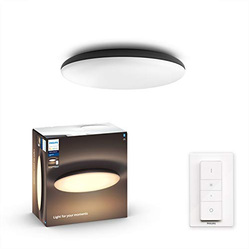 Philips Hue Cher Plafón Inteligente LED negro con Bluetooth, Luz Blanca de Cálida a Fría, Compatible con Alexa y Google Home