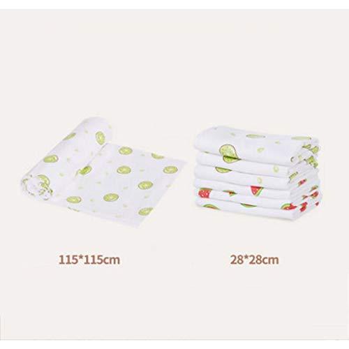 MXJ61 Coton Gaze Couverture Serviette de Bain Enfant Chouchou Bavoirs Nouveau-né bébé Produits 7 pcs/Ensemble (Taille : Six Layers)