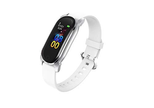 LYB Women Smart Watch Bluetooth SmartWatch Hombres Ritmo Cardíaco Monitor De Presión Arterial Running Track Smart Muñequera (Color : White)