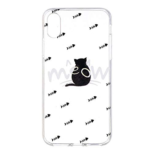 Shop4 - iPhone Xs Hoesje - Zachte Back Case Kat en Botten Transparant