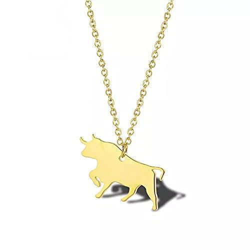 OYHBV Collar Collar De Vaca De Acero Inoxidable, Joyería para Ganado, Collares De Vaca para Mascotas, Colgante De Animal De Granja, Regalo De Amante del Torero para Mujeres Y Hombres