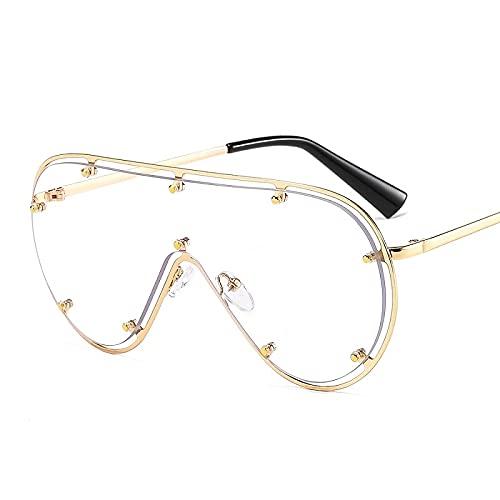 FEINENGSHUAInstyj Gafas Sol Mujer, Forme Gafas de Sol ovaladas de Gran tamaño Femenino Retro Espejo Remache Gafas de Sol Gafas de conducción (Lenses Color : Clear)