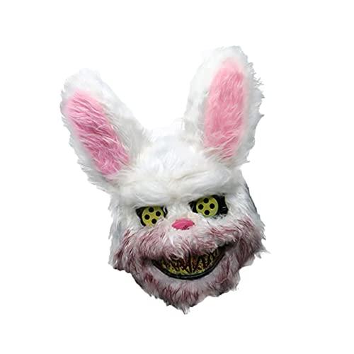 LXFENG Conejito de Miedo de Halloween, Bungee Peluche Mask Mascarilla de Miedo, Photo-Tomar máscara sangrienta, Masquerade Party Performance Props animal-20x33cm