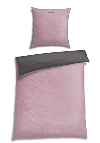 Schiesser Feinbiber Wendebettwäsche Doubleface, 100% Baumwolle, Größe:135 cm x 200 cm, Farbe:rosa
