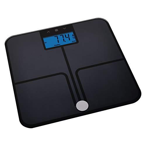 EMOS Digitale Personenwaage mit BMI und Memory Funktion, Waage/Gewichtswaage/Körperfettwaage, Digitalwaage aus Sicherheitsglas, misst Körperfett, Muskelmasse, Wasser/Batterien mitgeliefert