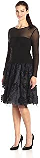 S.L. Fashions Women's Long Sleeve Illusion Top Party Dress