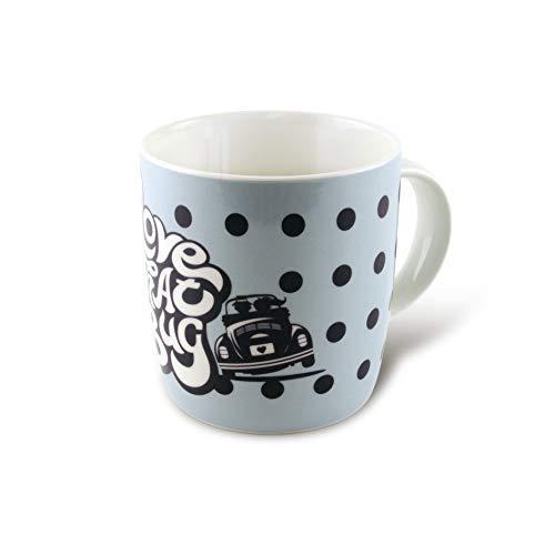 BRISA VW Collection - Volkswagen Käfer, Beetle Kaffee-Tee-Tasse-Becher für Küche, Werkstatt, Büro - Camping-Zubehör/Geschenk-Idee/Souvenir (Motiv: VW Käfer/Blau)