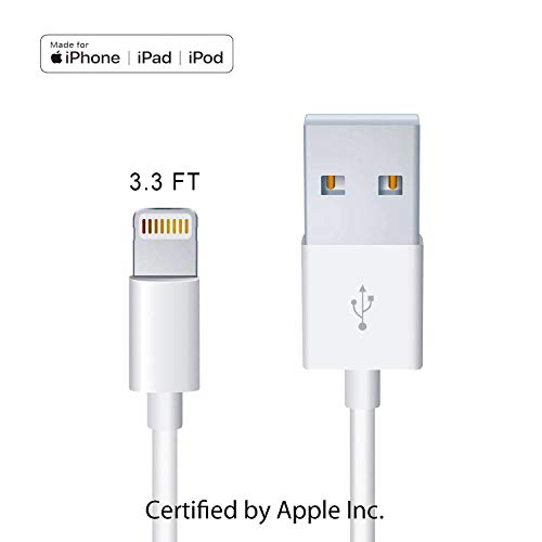 Apple Original Charger [Apple MFi Certified] Lightning to USB Cable Compatible iPhone Xs Max/Xr/Xs/X/8/7/6s/6plus/5s,iPad Pro/Air/Mini,iPod Touch(White 1M/3.3FT) Original Certified