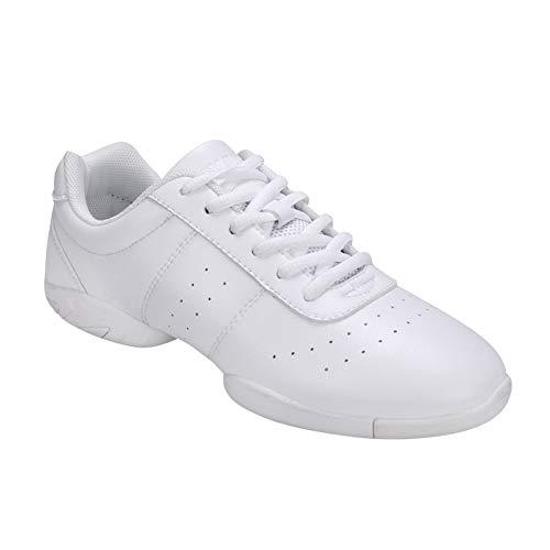 uirend Tanzschuhe Sport Schuhe Damen - Leder Lace Up Laufschuhe Gymnastik Training Schuh Modern Turnschuh Sneakers Fitness Cheerleader Gym Freizeit Bequem (Schuhe ist Kleiner)