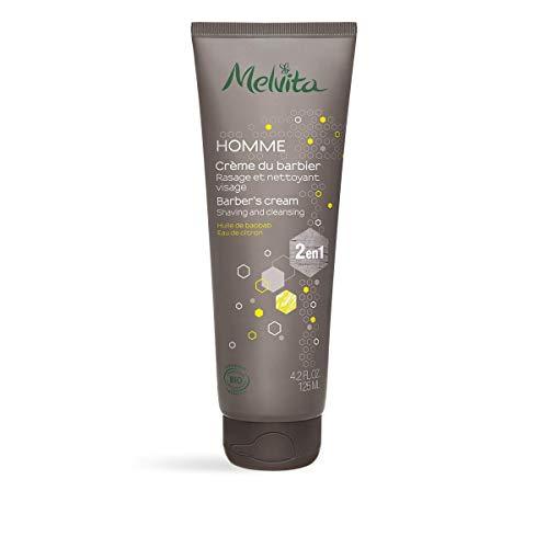 Melvita - Crème de rasage 2 en 1 Homme - Soin nettoyant et protecteur - Pour un rasage en douceur - Certifié bio, vegan et naturel à 96% - Fabriqué en France - Tube 125ml
