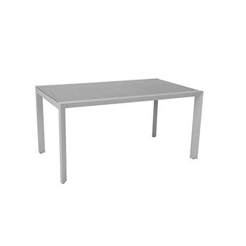 greemotion Tisch Stockholm weiß/grau, Gartentisch mit Glasplatte, hochwertiges Aluminiumgestell, witterungsbeständig und pflegeleicht, Maße ca. 210 x 100 x 75 cm