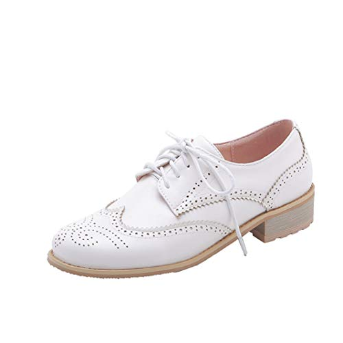 Women's Perforated Lace-up Wingtip Leather Flat Oxfords Vintage Brogues Low Heel Dress Shoes White