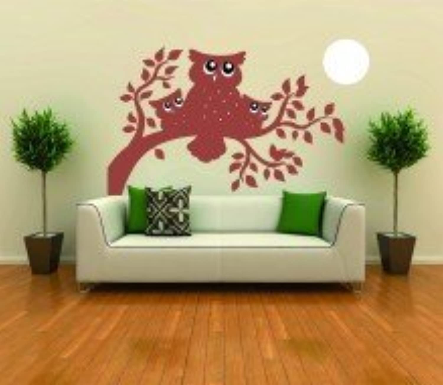 Owls On A Tree Branch Picture Art  Living Room  Home Decor Sticker  Vinyl Wall Decal  Size   24 Inches X 48 Inches  22 colors Available