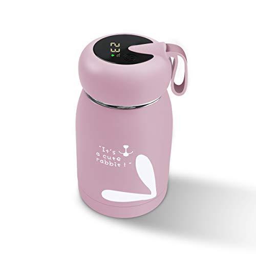 Vakuumisolierte Wasserflasche mit Temperaturanzeige – Allen 320 ml Edelstahl-Thermobecher mit hübschem Kaninchen, Mini-Reisebecher für Kinder, Mädchen, Frauen