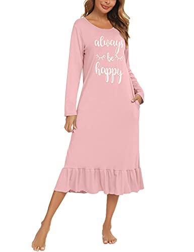 Enjyam Damen Langes Nachthemd Rundhals Baumwolle Langarm Nachtkleid mit Tasche Volant Locker Hauskleid mit Aufdruck Rosa,XXL