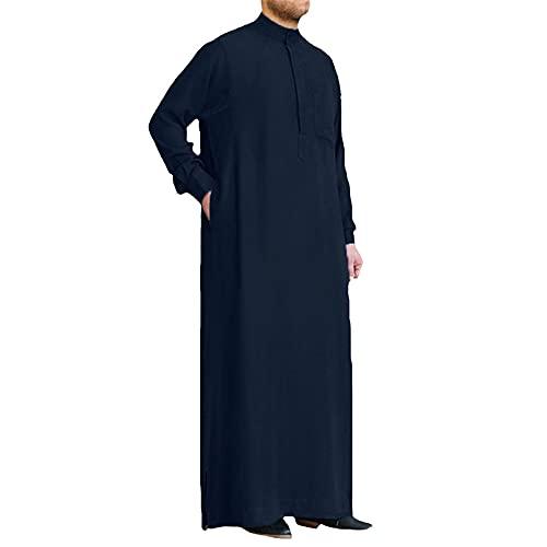 Men's Muslim Islamic Kaftan Arab Vintage Robe Men's Thobe Robe Loose Dubai Saudi Arabia Kaftan Men's Clothing Navy