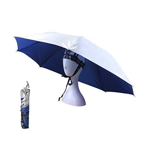 OMUKY Kopf Regenschirm Faltbarer Regenschirmhut Sonnenschirm Hut angelschirm klein für Damen Herren Golf, Angeln, Gartenarbeit,Fotografie,Wandern(Blau-Silber, 1 Stück)