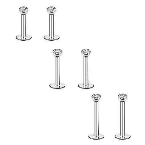 CrazyPiercing 6Pcs 16G 6-10MM Stainless Steel Lip Rings Nose Studs Piercing Internally Threaded