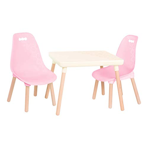B. spaces – Kids Table and Chair Set – 1 Craft Table & 2 Kids Chairs – Natural Wooden Legs – Furniture for Kids – Pink & Ivory – 3 Years + (BX2041C1Z)