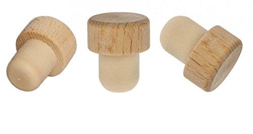 10x Holzgriff Korken Echtholz für alle gängigen Flaschen Sehr robust! 19 mm