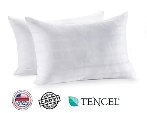 In Style Furnishings - Luxury Plush Gel Fiber Bed Pillows (2-Pack) - Made in USA - Hotel...