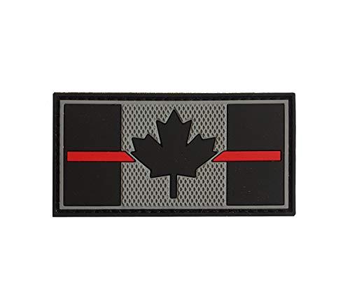 Patch en PVC – Drapeau du Canada – Ligne fine rouge 3,8 x 7,6 cm – Supporter les pompiers