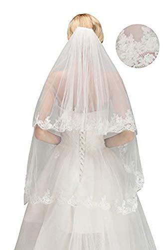 MisShow Damen weiße Schleier für Braut mit Kamm applikation Länge 150CM
