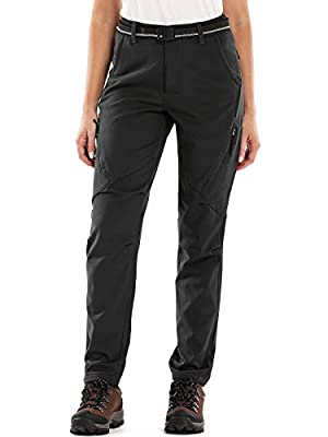 Women's Winter Warm Windproof Waterproof Sportswear Outdoor Hiking Fleece Pants,6080,Black,26