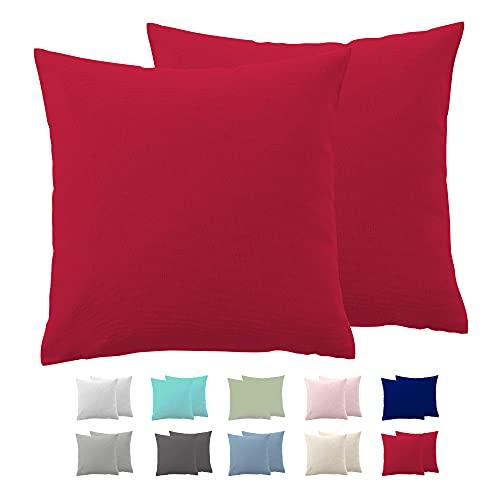 Comfy Wings Juego de 2 fundas de almohada de algodón de 80 x 80 cm, 100 % algodón de punto de jersey, almohadas supersuaves, fundas de almohada, color rojo
